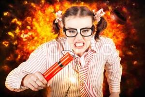 Crazy Business Worker Under Explosive Stress